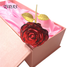 Luxury Blooming 24k Gold Dipped Crystal Rose Fresh Red Rose Flower With Nice Packing Box For Valentine's Day