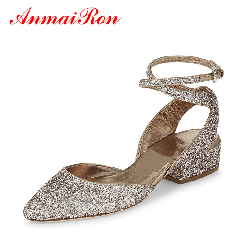 ANMAIRON Women Ankle-Strap Buckle Slingback Pumps Low Heels Bling Glitter Shoes Woman Chunky Heels Silver Summer Women Sandals<br><br>Aliexpress