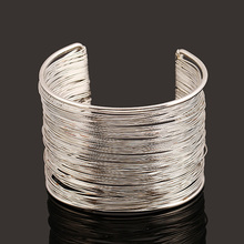 Female Fashion Exaggerate Gold-color Silver-plated Multirows Iron Cuff Bangle Bracelet