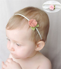 Flower Headband non-woven fabrics felt Rose Flower with Leaf Hairband  hair accessories for photo props 5pcs/lot