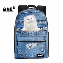 ONE2 2017 New Design lovely backpacks printing with Denim Pocket Animals Series about Little Cat schoolbags for young students