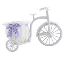 Stylish Design Handwork White Mini Tricycle Bike Flower Basket Storage for Home Party Wedding Banquet Table DIY Decoration Craft