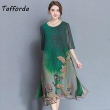 Tafforda M-4XL Plus Size New Spring Summer Silk Dress Chinese Style Dress  High Quality Loose Print Party Women s Dress Female 5418ac99a5dd