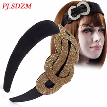 PJ.SDZM Woman Small Rhinestone Hair Accessory Fashion Female Austrian Rhinestone Hair Bands Chinese Knot Crystal Headband(China)