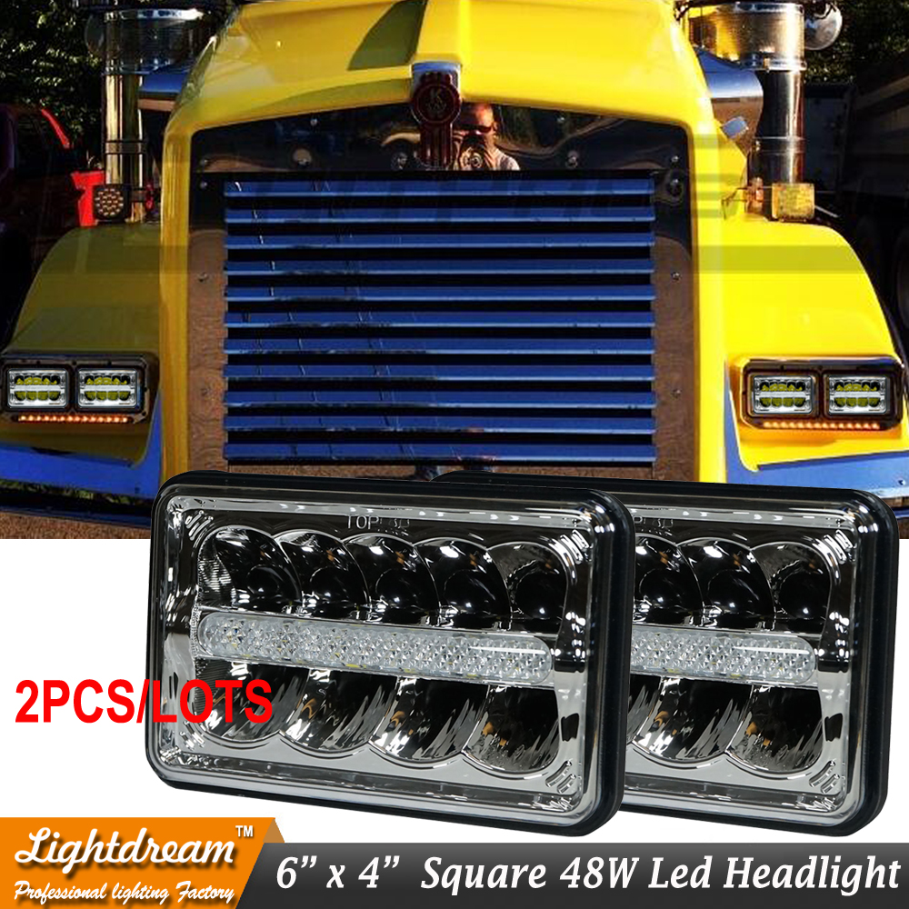 Pair of 6x4 4x6 inch 15 LED Headlights IP68 4200Lumens Led truck Kneworth T800 T400 Front Headlamp With DRL Replace H4651/H4656<br>