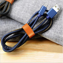 Micro USB Cable 1m 2m Denim Cable Xiaomi Redmi Note Charging Mobile Phone USB Charger Data Cable Samsung Sony HTC LG