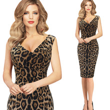 Buy Leopard Sexy Dress 2016 Women Summer O Neck Sleeveless Dresses Knee MIni Bodycon Slim Vintage Bodycon Dress Vestidos Sex for $24.99 in AliExpress store