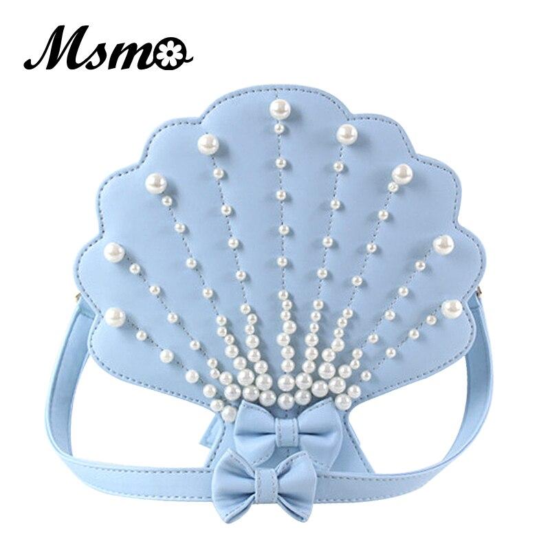 MSMO lolita pearl seashell mermaid crossbody bag shell shape shoulder bag purse girls ladies handbag mini messenger bag flap<br>