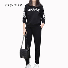 RLYAEIZ Plus Size 4XL 2 Piece Set Women 2017 New Spring Autumn Tracksuits Printed Letter Hoodies + Pants Fashion Sporting Suits