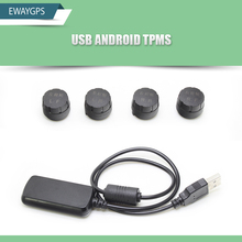 USB TPMS for Android CAR DVD Car Tire Pressure Monitoring System 4 Sensors Alarm Tire Temperature Monitoring System EW-TPMS-A1