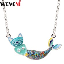 WEVENI Statement Maxi Enamel Cat Head Mermaid Choker Necklace Pendants Chain Collar Ocean Animal Accessories Jewelry For Women(China)
