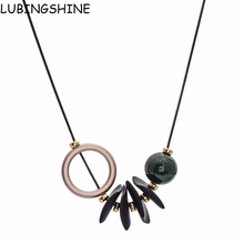 Buy LUBINGSHINE Jewelry Women Fashion Long Round Circle Wood Beads Pendants Necklaces Vintage Sweater Chains bijoux femme for $2.42 in AliExpress store