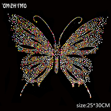 Colorful Butterfly Design Hotfix Rhinestone Heat Transfer Iron Sewing Rhinestone Motif Embellishment For garment Shoes Sweater(China)