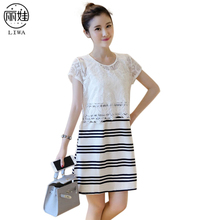 Lace Patchwork Striped Nursing Dress Short Maternity Dress Clothing for Pregnancy Woman Breastfeeding Vestido Verano 2017 LR41(China)