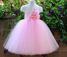 Girls Pink Flowers Long Tutu Dress Kids Handmade Fluffy Crochet Tulle Tutus Ball Gown with Headband Children Cheap Party Dresses