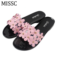 MISSC 2017 Lovely Flowers Women Sandals Beach Jelly Slippers Slides  Candy Color Summer Plastic Lady Shoes Plus Size 40 WSS711