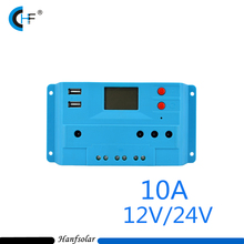 10A LCD dual USB Solar Charge Controller output 5V Mobile Charger 12/24V Solar Panel Battery Charge Controller Regulator 10 Amps