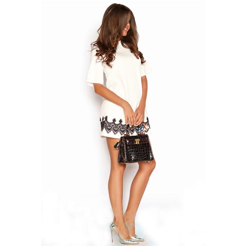 Summer Dress 2018 Women Fashion Casual Mini Lace Dress Black White Short Sleeve O-Neck Beach T Shirt Dresses Plus Size 6