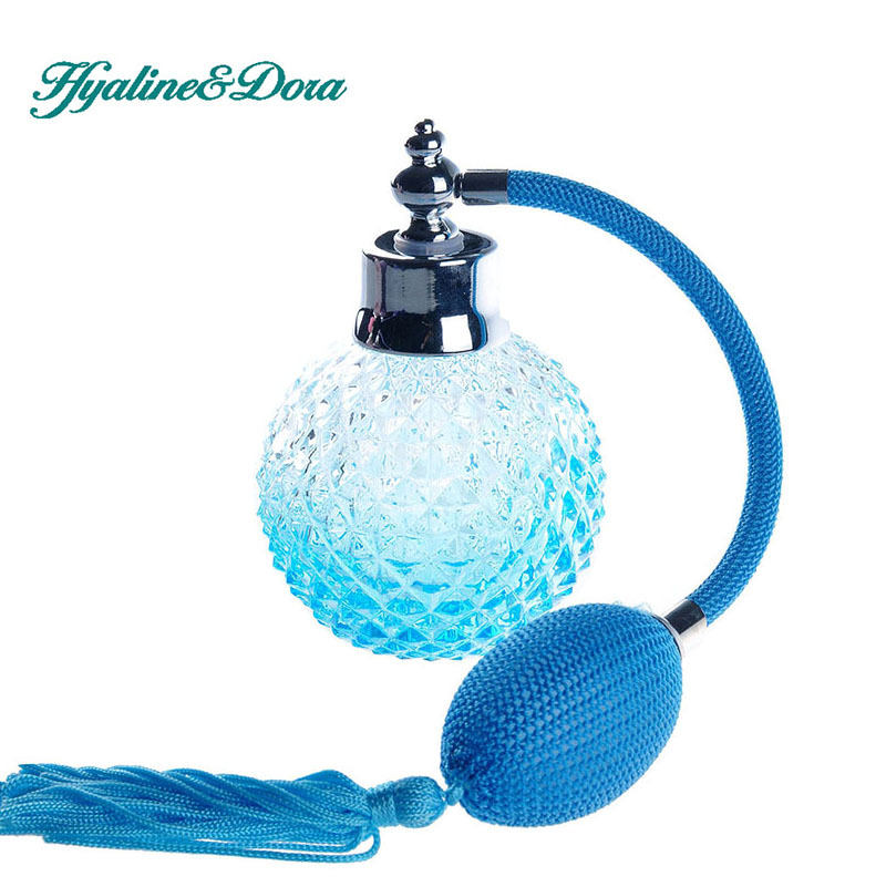 Blue 110ml Crystal Glass Empty Refillable Woman Perfume Bottle Atomizer Long Bulb Spray Scented Fragrance Containers Bottle<br><br>Aliexpress