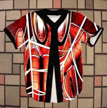 Real American Size Spiderman 3D Sublimation Print Custom made Button up baseball jersey plus size
