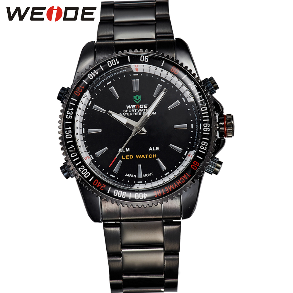 WEIDE High Quality Analog Digital LED Watch Casual Fashion Stainless Steel Wrist Band Waterproof Sports Men Quartz Hour Clock<br>