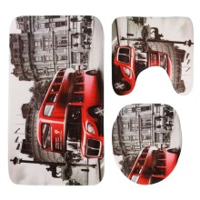 Europe and America style bathroom toilet 3pcs/set London bus Venice Statue of Liberty printing the floor mat carpet mat(China)