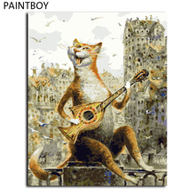 Hot Selling Framed Pictures Painting By Numbers Lovely Cat Handwork Canvas Oil Painting Home Decor For Living Room GX4554(China)