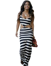 Front Tie Bowknot Side Cut Out Sexy Bodycon Long Maxi Striped Print Dress Zebra One Piece Summer High Quality Dress Clothing