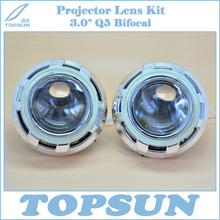 Auto Light Kit 3.0 inch Bifocal Q5 HID Projector Lens for H1 H4 H7 H11 9005 9006 Headlamp Socket with COB Angel Eyes & Shroud