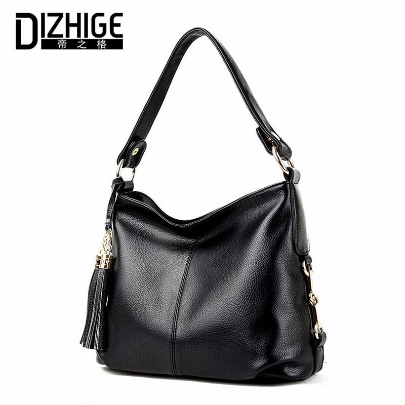 DIZHIGE Brand Tassel Shoulder Bags Genuine Leather Crossbody Bags Women High Quality Sheepskin Women Handbags Chain Ladies Bags<br>