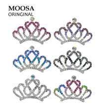 MOOSA Luxury Crystal Hair Comb Rhinestone Pageant Crowns Hairpins Hair Accessories Fashion Head Jewelry for Baby Girls(China)