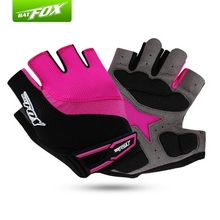 BATFOX Women Half Finger Cycling Gloves Red Rose Size S M L Bike Gloves Outdoor Sport Road MTB Guantes Ciclismo Nylon Mittens