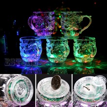 LED Dragon Inductive Rainbow Color Flashing Light Glow Mugs Glasses Beer Cup(China)