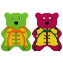 14.5X20CM Felt Cloth Little Bear School Study Tools Learn to Tie Shoes Non-woven Felt Craft(China)
