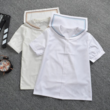 Two different color line Beige & white sailor collar short sleeve shirt casual JK Tops(China)