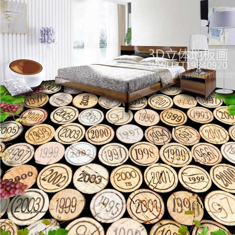Free shipping photo living room flooring Red wine rubber plug vines 3D floor painting wear non-slip vintage mural wallpaper<br>