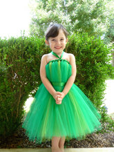 green  tutu  baby bridesmaid flower girl wedding dress tulle fluffy ball gown party NEW USA birthday evening prom cloth  dress