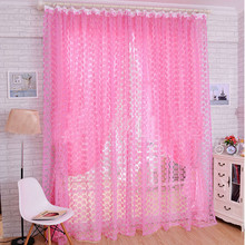 Fashion Rose Tulle Window Screens Door Balcony Curtain Panel Sheer curtains for living room 200X100cm 5.51(China)
