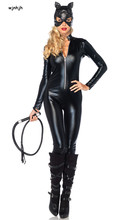 Buy Sexy Costume Faux Leather Black Sexy Catwoman Latex Catsuit Erotic Cat Costume Halloween Cosplay Masquerade Wear Suit M L XL XXL