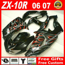 ABS plastic Fairings for 2006 2007 Kawasaki Ninja ZX-10R 06 07 black with red white flames ZX10 ZX10R fairing kits ZU93(China)