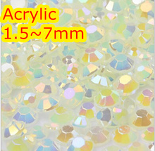 Jelly Jonquil AB Color 1.5~7mm All size Choice Flat Back Round Acrylic rhinestone,Acrylic 3D Nail Art / Garment Rhinestone