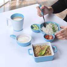 Mickey Mouse Blue Color Dinnerware set Cake Dishes  Plates Porcelain Pastry Fruit Salad Ceramic bakeware For Steak Breakfast