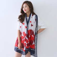 Korea style new hot words hearts printed scarf long spring and autumn period and the thin silk scarves(China)