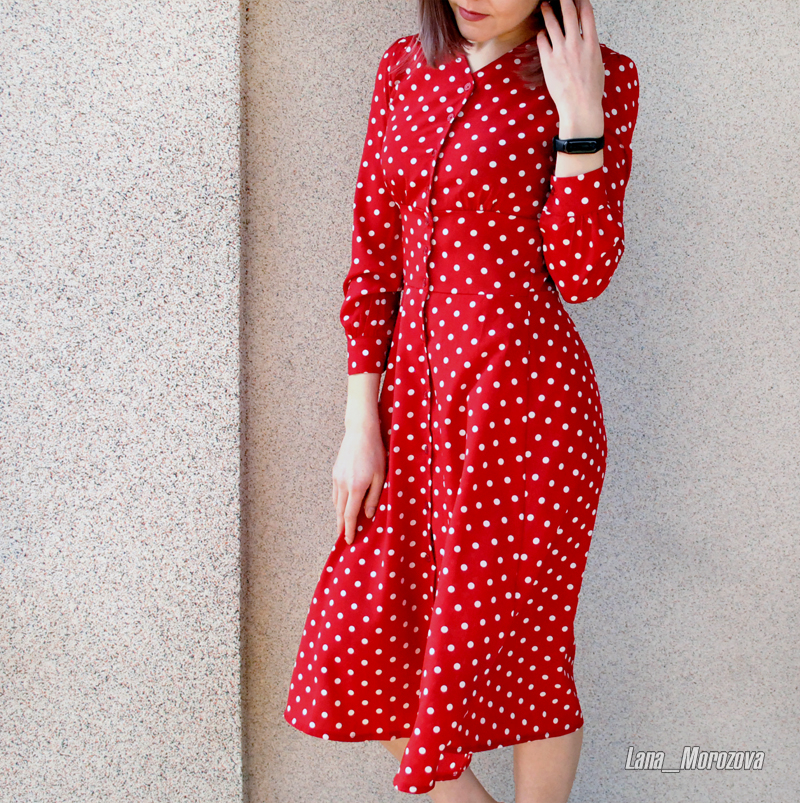 Flectit Vintage 80s Dress French Style Polka Dot Button Up Midi Dress Long Sleeve High Waisted Retro Holiday Dress Women 8