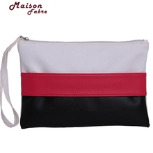 Lips Bag BrandLeather Lady Women Wrist Mini Phone Bag  Stitching Hit Color Stripe Envelope Clutch Bag Long Section 918#30