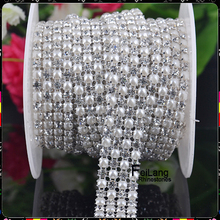 F682806 crystal 4 rows rhinestone pearl mesh trimming aluminium base 5yards for one roll aluminium silver base EMS FREE