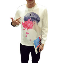 Autumn Space Cotton Long Sleeved Fashion Rose Floral T Shirt Men Long T-shirt Men Funny T Shirts Classic Site Brand Clothing(China)