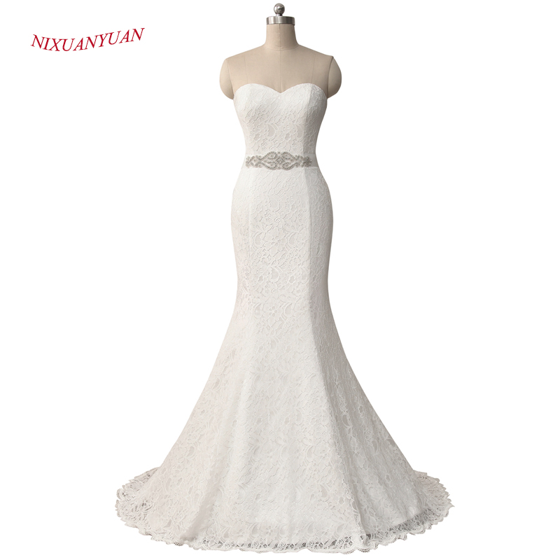 NIXUANYUAN New Elegant White Ivory Lace Bridal Gown Mermaid Wedding Dress 2018 Vintage Cheap vestido De noiva With Sash In Stock