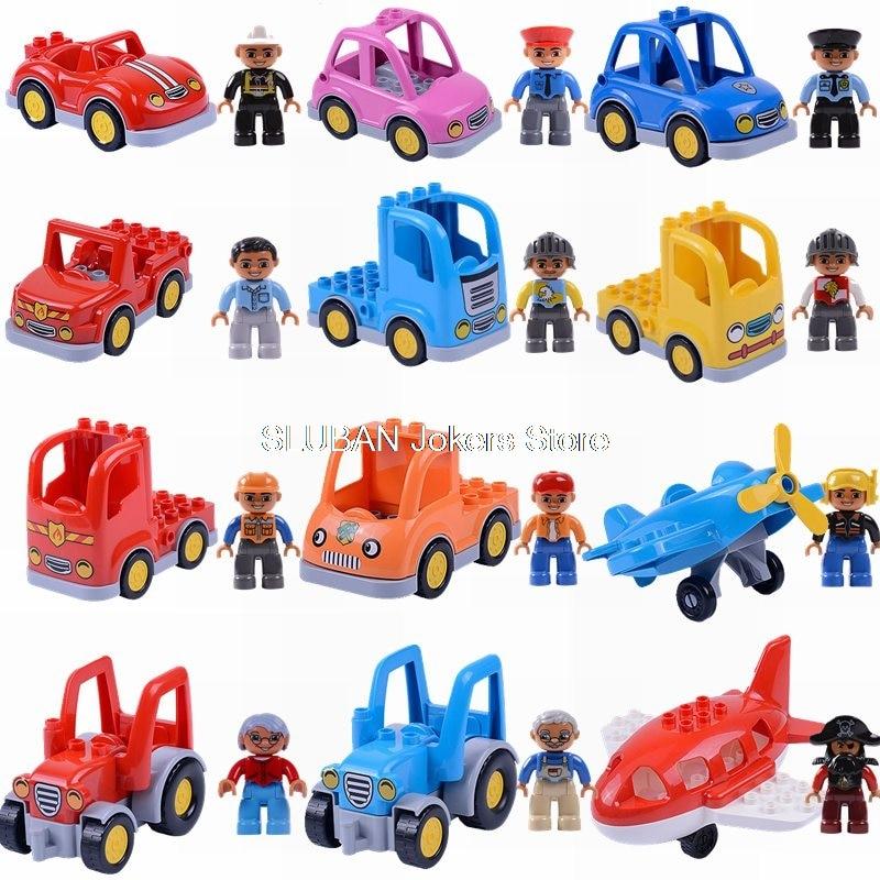 Legoing Duplo Car Big Size Transportation Helicopter Toys for Children Building Blocks Legoing City Police Figures Animals Model