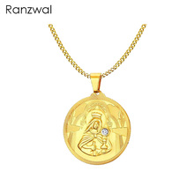Ranzwal Virgin Mary Pendant Necklace for Women Men Gold Color Stainless Steel Prayer Necklace Jewelry MNE036(China)
